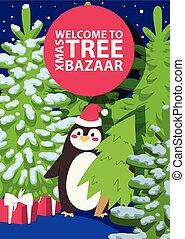 販売, 冬, 冬季, クリスマス, 買い物, 買い物, 提供, 大きい, イラスト, 贈り物, フライヤ,...