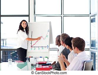 販売, 報告, 数字, 女性実業家, ブルネット