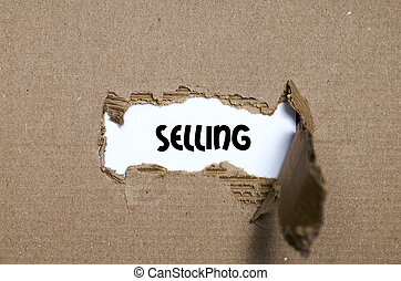 販売, 現われる, 引き裂かれた, の後ろ, ペーパー, 単語