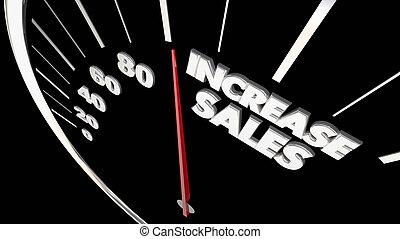 販売, 結果, イラスト, 売上高が増加する, プロダクト, 測定, もっと, 速度計, 3d