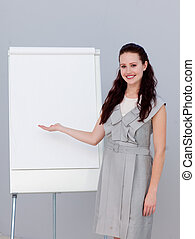 販売, 美しい, 微笑, 数字, 女性実業家, 報告
