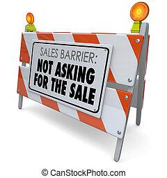 販売, 障壁, プロセス, セール, 規則, 請求, 言葉, ない