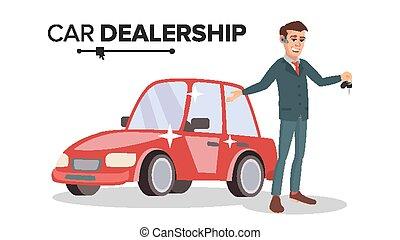 販売, vector., 自動車, 特徴, 隔離された, イラスト, ディーラー, 車。, 選択, 自動車, 専門家, 白, salesman., 漫画, 幸せ