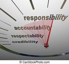責任, accountability, レベル, 測定, 評判, 義務