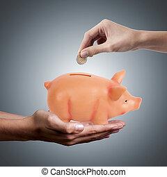 貯蓄の金, 豚, 小豚, 手, 銀行