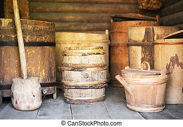 貯蔵, ラック, ∥で∥, 古い, 木製である, barrels.