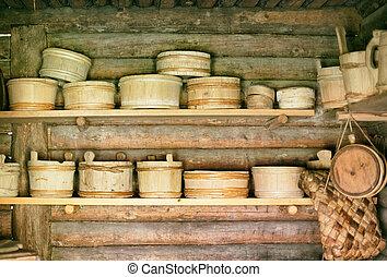 貯蔵, ラック, ∥で∥, 古い, 木製である, bowls.