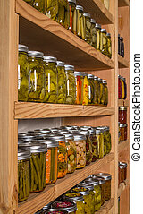 貯蔵, 棚, ∥で∥, 缶詰にされた 商品