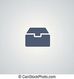 貯蔵, 箱, ベクトル, 最も良く, 平ら, アイコン