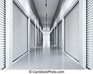 貯蔵 設備, ∥で∥, 白, doors., 3d, レンダリング