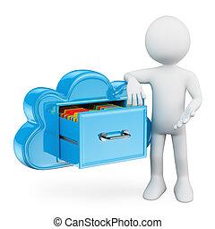 貯蔵, 雲, 人々。, 白, 3d, サービス