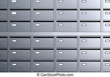 貯蔵, boxes., archives., 3d, イラスト