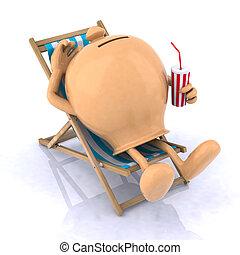 貯金箱, あること, 上に, a, 浜の 椅子