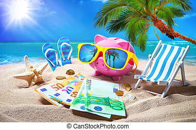 貯金箱, ∥で∥, サングラス, リラックスしなさい, 浜, 休日