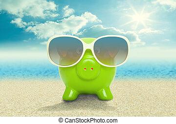 貯金箱, 中に, サングラス, 浜, -, 休暇, 概念