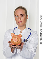 貯金箱, 若い, 女性の医者