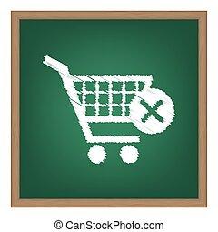 買い物カート, ∥で∥, 削除, 印。, 白, チョーク, 効果, 上に, 緑, 学校, board.