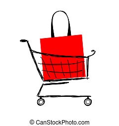 買い物カート, 袋, デザイン, あなたの, 赤