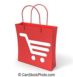 買い物カート, 袋, 提示, バスケット, チェックアウト