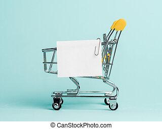 買い物リスト, カート, ノートペーパー, 白