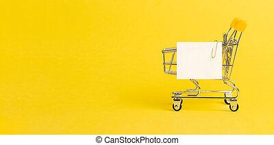 買い物リスト, 黄色のノート, ペーパー, カート, 白