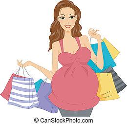 買い物客, 妊娠した