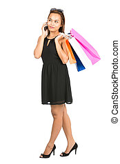 買い物客, 電話, 細胞, 話し, アジアの女性, v, 偶然