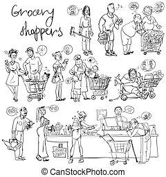 買い物客, 食料雑貨, セット, スケッチする, 手