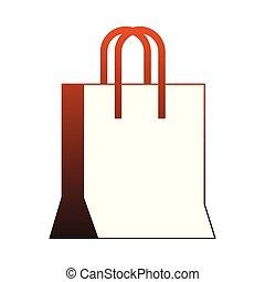 買い物袋, ライン, 隔離された, 赤