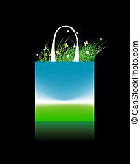 買い物袋, 空フィールド, 緑, デザイン