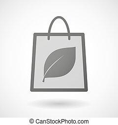 買い物袋, 葉, アイコン