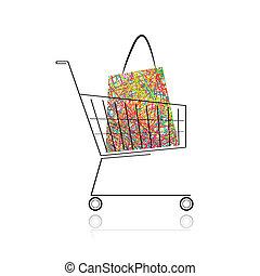 買い物, あなたの, カート, 袋, デザイン, スーパーマーケット