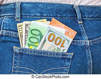 買い物, お金, 旅行, ジーンズ, 通貨, ポケット, アメリカ人, ユーロ