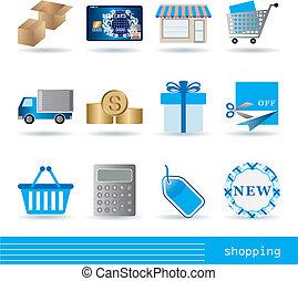 買い物, アイコン, セット