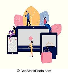 買い物, イラスト, stores., ベクトル, によって, オンラインで, デザイン, あなたの