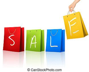 買い物, カラフルである, 袋, ∥で∥, セール, 上に, それら。, 概念, の, discount., ベクトル, illustration.