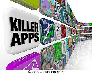 買い物, キラー, apps, アプリケーション, ダウンロード, 店, ソフトウェア