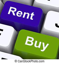 買い物, キー, 家, 提示, 賃貸料, 家