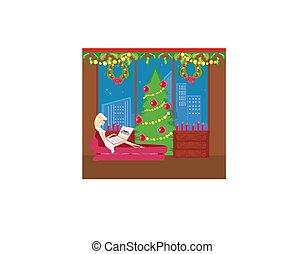 買い物, クリスマス, オンラインで