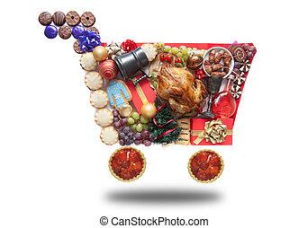 買い物, クリスマス, カート, アイコン