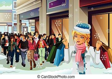 買い物, クリスマス, 人々