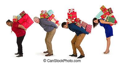 買い物, クリスマス, 家族