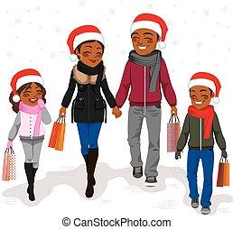 買い物, クリスマス, 家族, 幸せ
