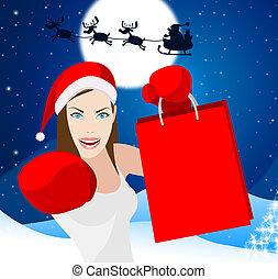 買い物, クリスマス, 販売