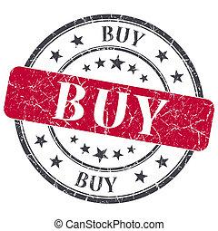 買い物, グランジ, 切手, 型, 隔離された, textured, 赤