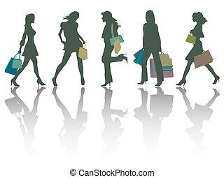 買い物, シルエット, 女の子