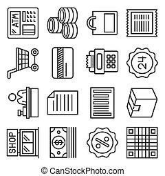買い物, スタイル, ベクトル, 金融, 線, アイコン, set.