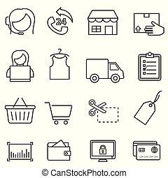 買い物, セット, インターネット商業, オンラインで, 線, 小売り, アイコン