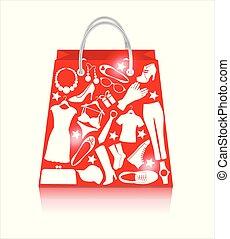 買い物, セール, 袋, 白い赤, 衣服