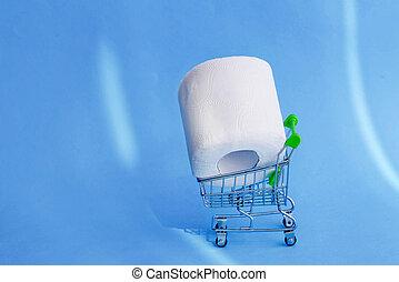 買い物, バックグラウンド。, ペーパー, トイレ, カート, 青